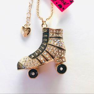 Black Crystal Roller Skates Necklace